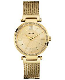 GUESS Women's Gold-Tone Stainless Steel Self-Adjustable Bracelet Watch 36mm U0638L2