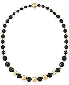 Onyx Beaded Necklace (6, 8 and 10mm) in 14k Gold over Resin