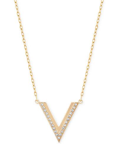 Swarovski Rose Gold-Tone Small Chevron Pendant Necklace