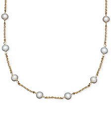Cultured Freshwater Pearl Station Necklace in 14k Gold (6mm)