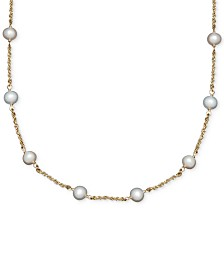 Honora Cultured Freshwater Pearl Station Necklace in 14k Gold (6mm)
