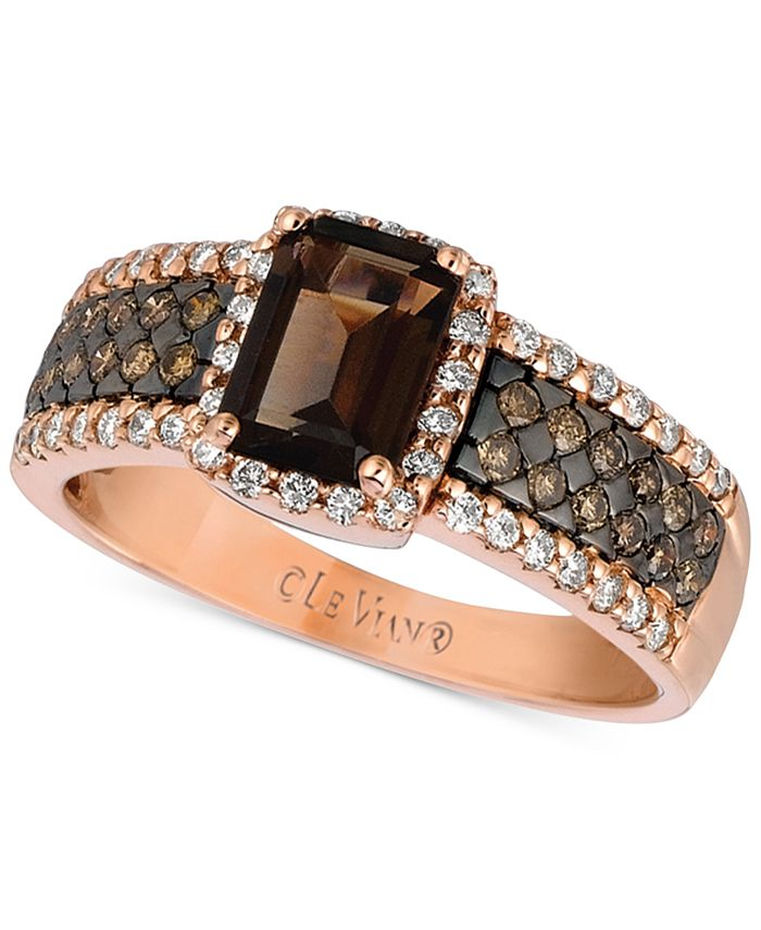 Le Vian - Chocolate Quartz (4/5 ct. t.w.) and Diamond (1/2 ct. t.w.) Ring in 14k Rose Gold