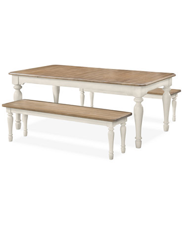 montauk 3 pc rustic dining set dining table 2 benches