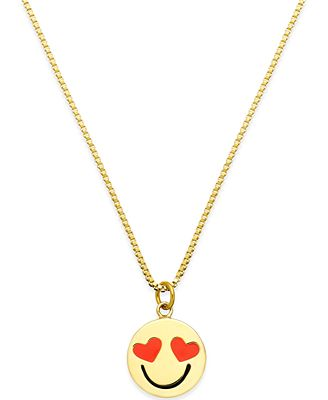 kate spade new york Gold Tone Smitten Emoji Pendant Necklace