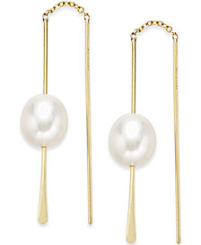 Freshwater Pearl (10-8mm) Drop Threader Earrings in 14k Gold