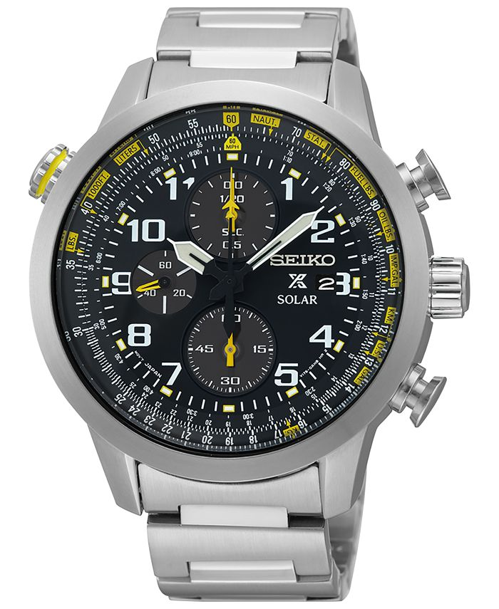 Seiko - Men's Solar Chronograph Prospex Stainless Steel Bracelet Watch 44mm SSC369