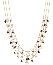 Anne Klein Gold-Tone Jet and Glass Stone Three-Row Necklace