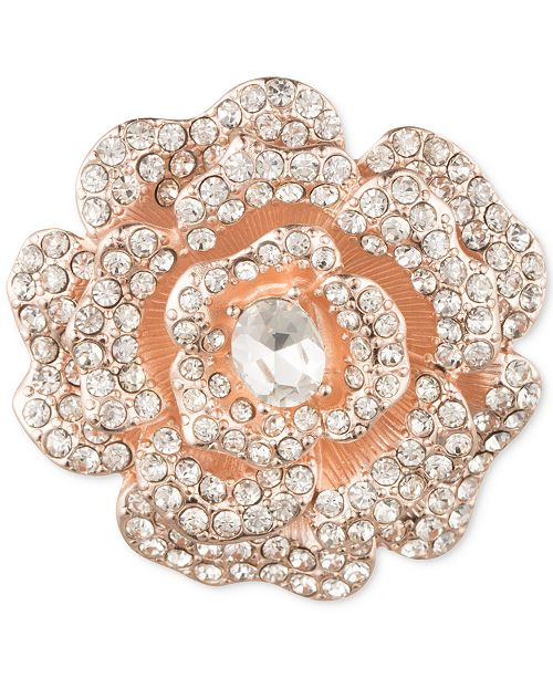Anne Klein Rose Gold-Tone Crystal Flower Brooch, Created for Macy's