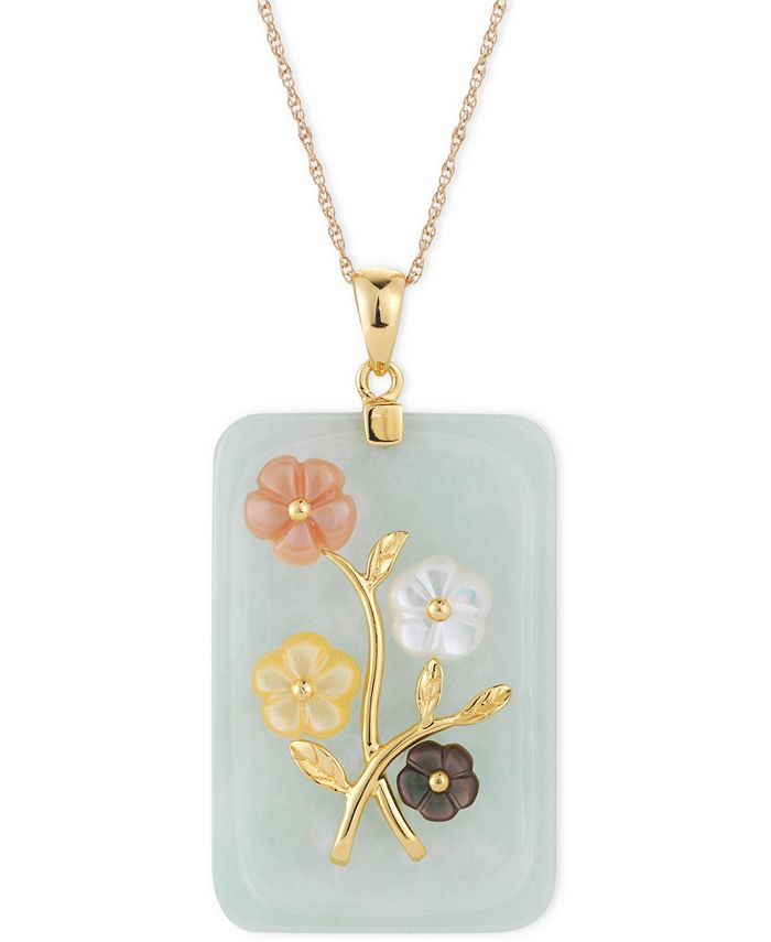 Macy's - Jade or Onyx Carved Flower Pendant Necklace (25x38mm) in Gold-Plated Sterling Silver