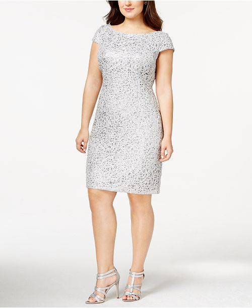 Adrianna Papell Plus Size Sequined Lace Shift Dress