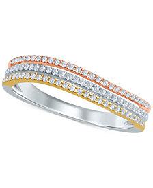 Diamond Tri-Color Band (1/4 ct. t.w.) in 14k Gold