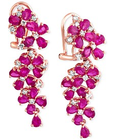 EFFY® Ruby (7-1/4 ct. t.w.) and Diamond (3/4 ct. t.w.) Earrings in 14k Rose Gold, Created for Macy's