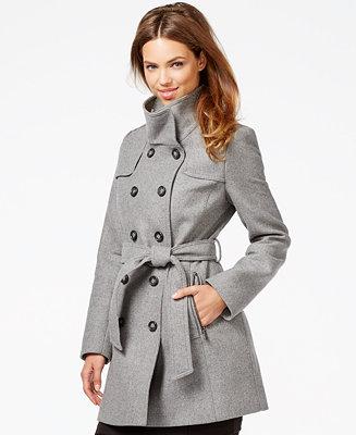 Dkny Double Breasted Belted Peacoat Coats Women Macy S