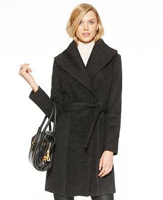 Calvin Klein Shawl Collar Boucl 233 Knit Wrap Coat Coats