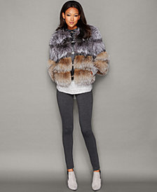 The Fur Vault Fox Fur Collarless Jacket