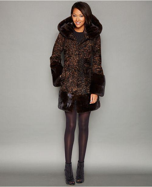 797bf1c4b06 The Fur Vault Mink-Fur-Trim Hooded Persian Lamb Coat   Reviews ...