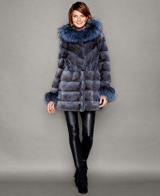 The Fur Vault Fox-Fur-Trim Hooded Mink Fur Coat - The Fur Vault