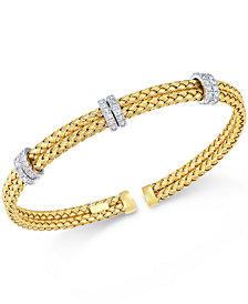 Diamond Mesh Bangle Bracelet (1/2 ct. t.w.) in Rose, Yellow or White Gold-Plated Sterling Silver