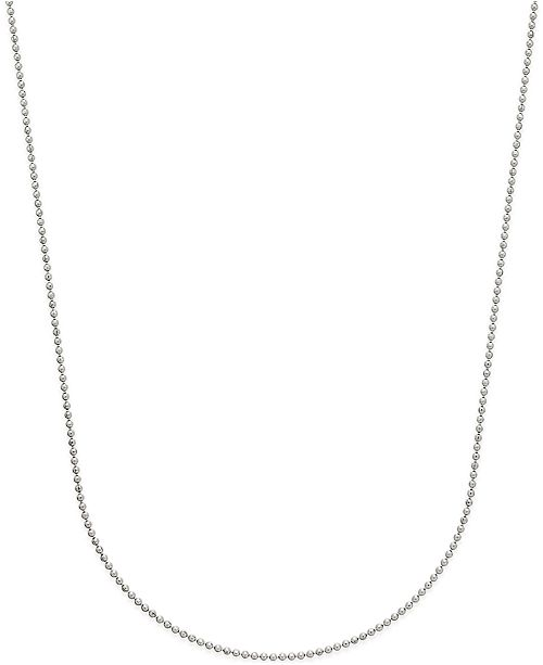 Macy's Beaded Link Chain Necklace (3/4mm) in 14k White Gold