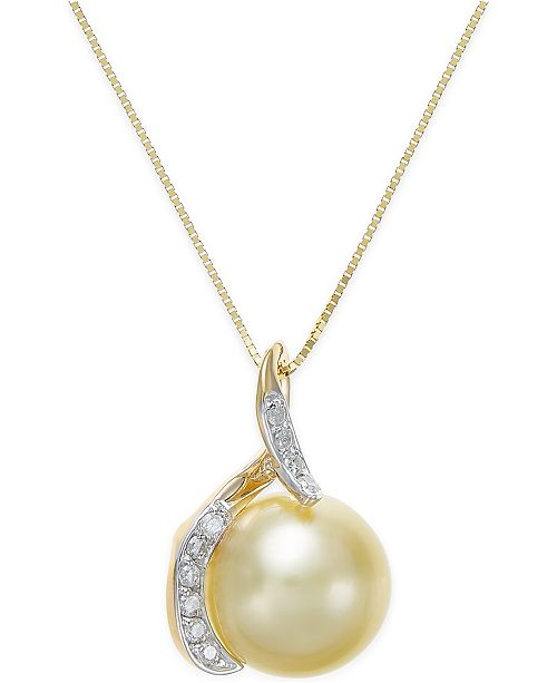 Macy's Cultured Golden South Sea Pearl (10mm) and Diamond (1/10 ct. t.w.) Pendant Necklace in 14k Gold