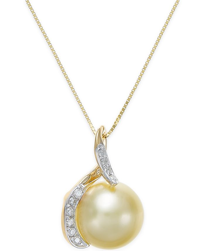 Macy's - Cultured Golden South Sea Pearl (10mm) and Diamond (1/10 ct. t.w.) Pendant Necklace in 14k Gold