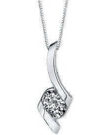 Sirena Diamond Twist Pendant Necklace (1/3 ct. t.w.) in 14k White Gold