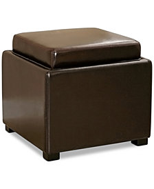 Bartlett Leather Storage Ottoman, Quick Ship
