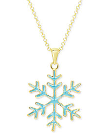 Blue Enamel Snowflake Pendant Necklace in 18k Gold over Sterling Silver