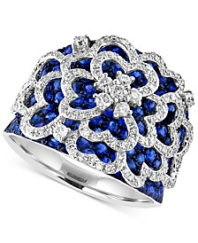 ROYALÉ BLEU EFFY® Sapphire (2-5/6 ct. t.w.) and Diamond (3/4 ct. t.w.) Flower Ring in 14k White Gold, Created for Macy's