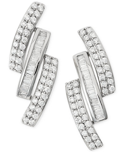 Wrapped in Love™ Diamond Three-Row Earrings (1 ct. t.w.) in 14k White Gold, Created for Macy's