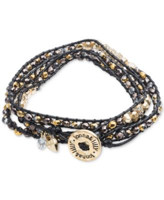 Gold-Tone and Cord Beaded Logo Wrap Bracelet