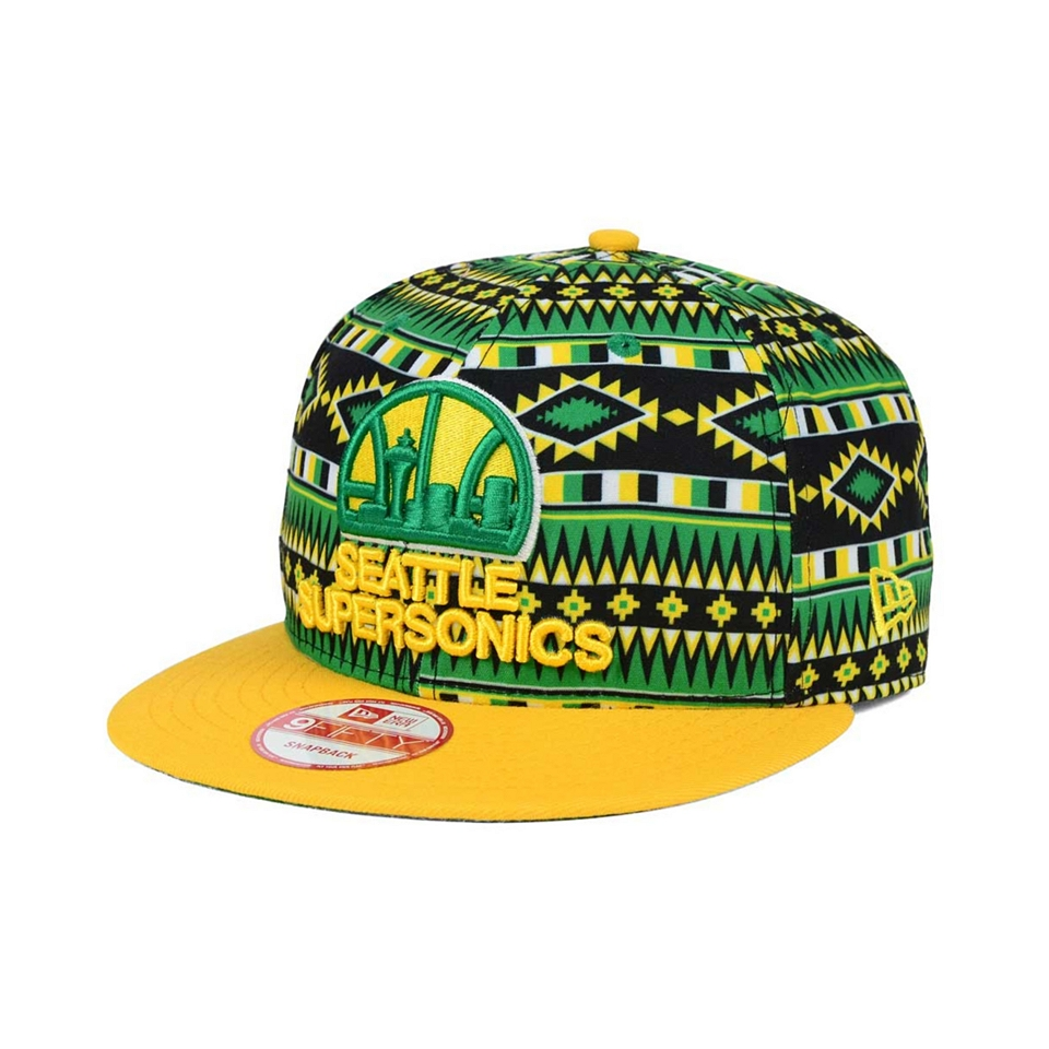acb5e6bd309 New Era Seattle SuperSonics HWC Tri All Print 9FIFTY Snapback Cap on ...