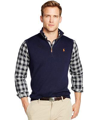 Polo Ralph Lauren Half-Zip Pima Vest - Sweaters - Men - Macy's