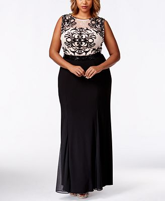 betsy & adam plus size contrast-lace illusion mermaid gown