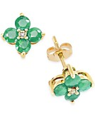 Emerald 1-1/6 ct. t.w. and Diamond Accent Flower Stud Earrings in 10k Gold