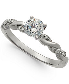 Diamond Twist Engagement Ring (3/4 ct. t.w.) in 14k White Gold