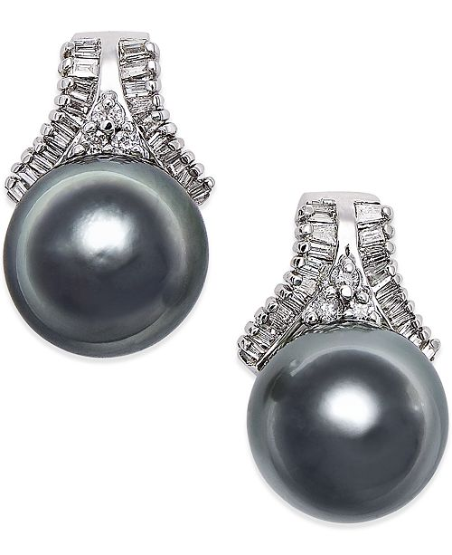 Macy's Cultured Tahitian Black Pearl (10mm) and Diamond (5/8 ct. t.w.) Stud Earrings in 14k White Gold
