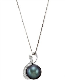 Tahitian Black Pearl (10mm) and Diamond (1/10 ct. t.w.) Pendant Necklace in 14k White Gold