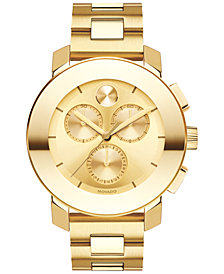 Movado Women's Swiss Chronograph BOLD Gold-Tone Ion-Plated Stainless Steel Bracelet Watch 38mm 3600358