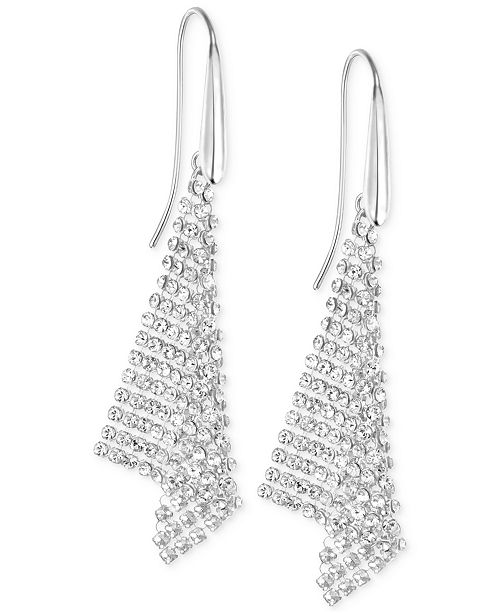 Silver Tone Crystal Mesh Drop Earrings