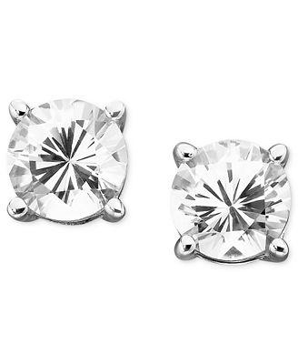 Macy S White Sapphire Stud Earrings 2 Ct T W In 14k Gold Pre