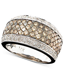Le Vian Chocolate and White Diamond Band Ring in 14k Gold or 14k White Gold (1-5/8 ct. t.w.)