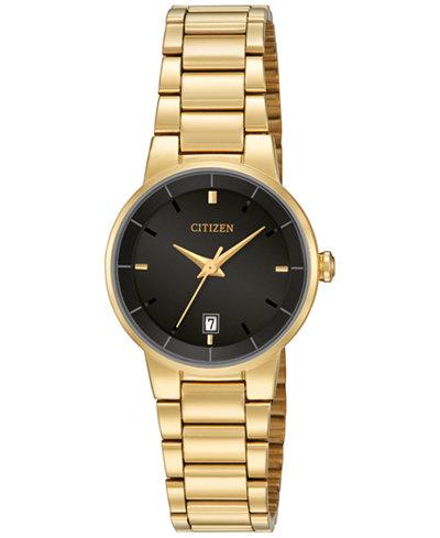 Citizen Women's Gold-Tone Stainless Steel Bracelet Watch 27mm EU6012-58E