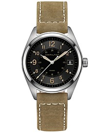Men's Swiss Khaki Field Tan Leather Strap Watch 40mm H68551833