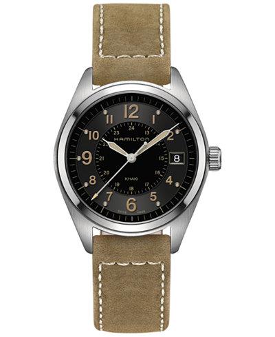 Hamilton Men's Swiss Khaki Field Tan Leather Strap Watch 40mm H68551833