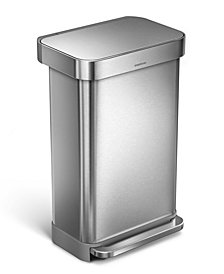 simplehuman brushed stainless steel 45l step trash can - Stainless Steel Kitchen Trash Can