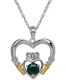 Birthstone (5/8 ct. t.w.) and Diamond Accent Claddagh Pendant Necklaces in Sterling Silver and 14k Gold
