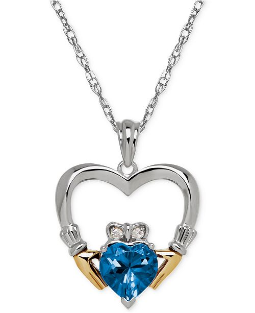 Birthstone Claddagh Pendant Necklace Collection