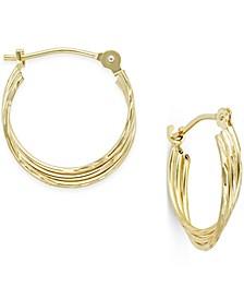 Three-Row Nested Hoop Earrings in 10k Gold