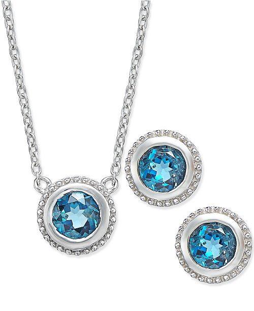 Macy's London Blue Topaz Pendant Necklace and Earrings Set (2 ct. t.w.) in Sterling Silver